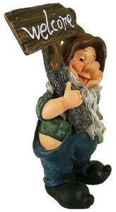Фигурка декоративная Гном с табличкой, высота 53 см