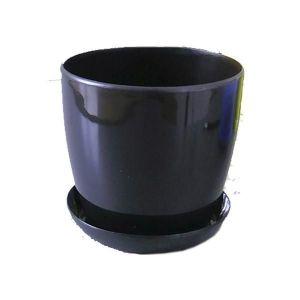 Горшок с поддоном Глянец-М черный, Ø11см, V0,8 л