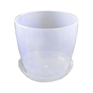 Горшок с поддоном Глянец-М прозрачный, Ø14см, V1,4 л