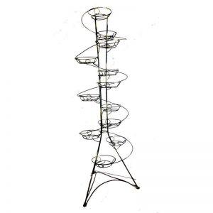 Кованая подставка Башня спираль на 12 вазонов