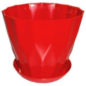 Горшок для цветов Карат с подставкой 0,8 л красный