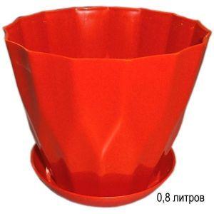 Горшок для цветов Карат с подставкой 0,8 л оранжевый