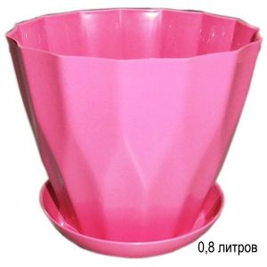Горшок для цветов Карат с подставкой 0,8 л розовый