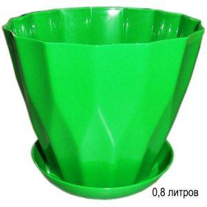 Горшок для цветов Карат с подставкой 0,8 л зеленый