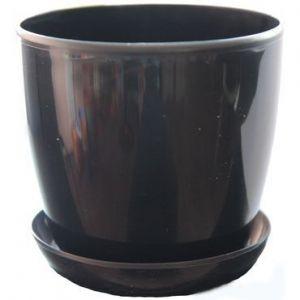 Горшок с поддоном Глянец-М черный, Ø18см, V3,3 л