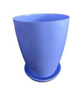 Горшок с подставкой Глянец глубокий голубой Ø15см, V2,3 л