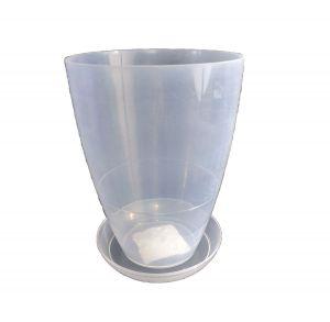 Горшок с подставкой Глянец глубокий прозрачный Ø12см, V1,2 л