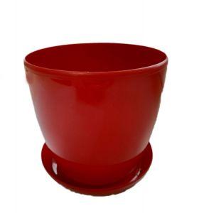 Горшок с поддоном Глянец-М красный Ø11см, V0,8 л