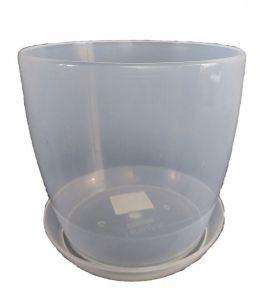 Горшок с поддоном Глянец-М прозрачный, Ø18см, V3,3 л