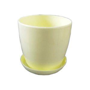 Горшок с поддоном Глянец-М желтый, Ø11см, V0,8 л