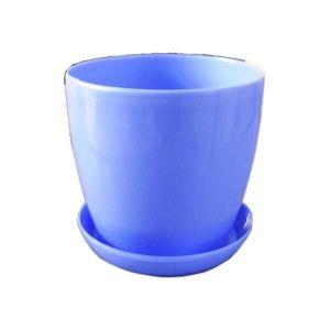 Горшок с поддоном Глянец-М голубой, Ø11см, V0,8 л