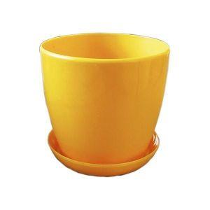 Горшок с поддоном Глянец-М темно-желтый, Ø11см, V0,8 л