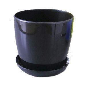 Горшок с поддоном Глянец-М черный, Ø14см, V1,4 л