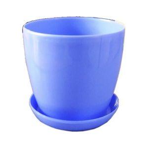 Горшок с поддоном Глянец-М голубой, Ø14см, V1,4 л