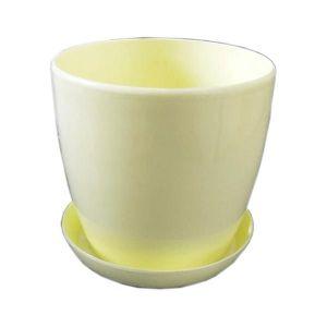 Горшок с поддоном Глянец-М желтый, Ø14см, V1,4 л
