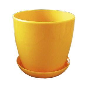 Горшок с поддоном Глянец-М темно-желтый, Ø14см, V1,4 л