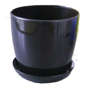 Горшок с поддоном Глянец-М черный, Ø16см, V2,2 л