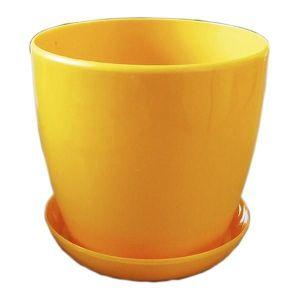 Горшок с поддоном Глянец-М темно-желтый, Ø16см, V2,2 л