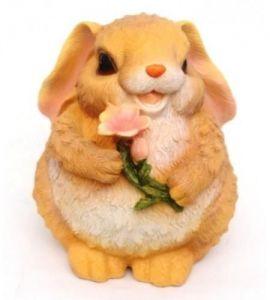 Фигурка декоративная Заяц с цветами