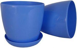 Горшок с поддоном Глянец-М голубой, V0,8 л