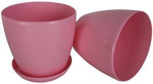 Горшок с поддоном Глянец-М розовый, Ø14см, V1,4 л