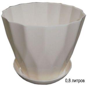 Горшок для цветов Карат с подставкой 0,8 л белый