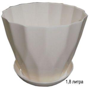 Горшок для цветов Карат с подставкой 1,8 л белый