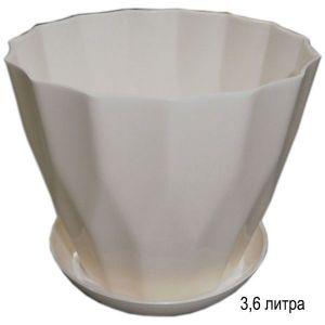 Горшок для цветов Карат с подставкой 3,6 л белый