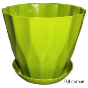 Горшок для цветов Карат с подставкой 0,8 л фисташковый