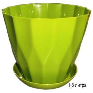 Горшок для цветов Карат с подставкой 1,8 л фисташковый