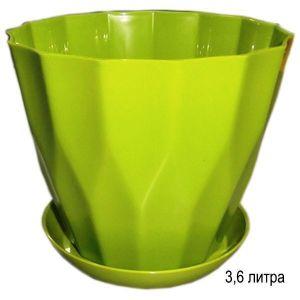Горшок для цветов Карат с подставкой 3,6 л фисташковый