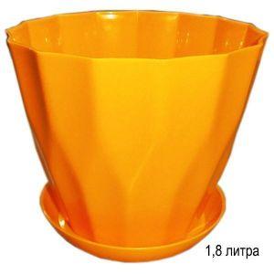 Горшок для цветов Карат с подставкой 1,8 л желтый
