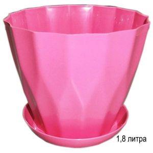 Горшок для цветов Карат с подставкой 1,8 л розовый